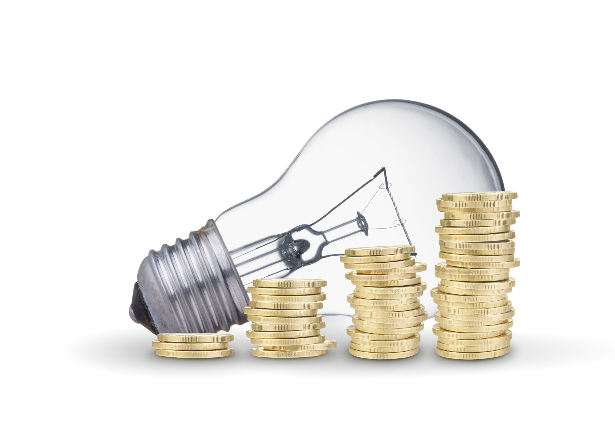 Light bulb and coins representing the growing savings through R&D Tax credit and innovation.jpg